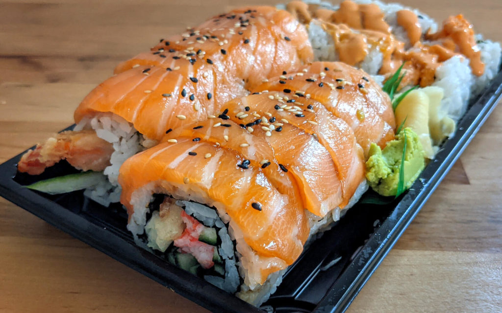 Red Dragon Roll and Spicy Salmon Roll from Sushi Nori